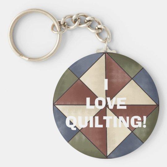bg (603), ILOVEQUILTING! Basic Round Button Key Ring