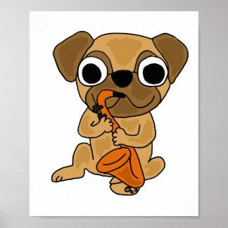 BG- Cute Pug Playing Saxophone Poster
