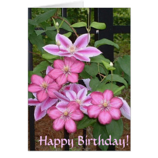 BG- Happy Birthday! Pink Clematis Card