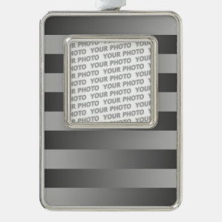 BG Stripes Pattern black grey + your photo Silver Plated Framed Ornament