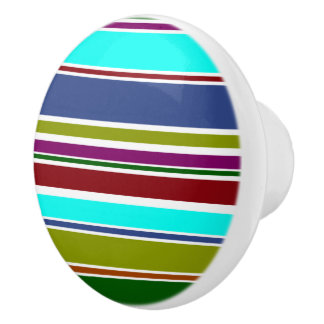 BG Stripes Pattern colored X + your background Ceramic Knob