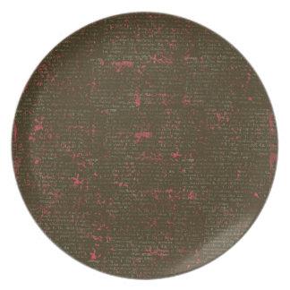 BGVPB DARK BROWN HOT PINK VINTAGE PAPER RUSTIC HIS PLATES