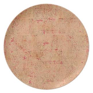 BGVPO ORANGE VINTAGE PAPER RUSTIC HISTORIC WRITING DINNER PLATES