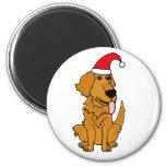 BH- Golden Retriever in Santa Hat Christmas Button Refrigerator Magnet