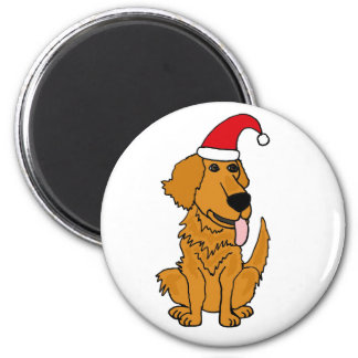 BH- Golden Retriever in Santa Hat Christmas Button Magnet