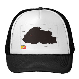 bhutan country political map flag mesh hats