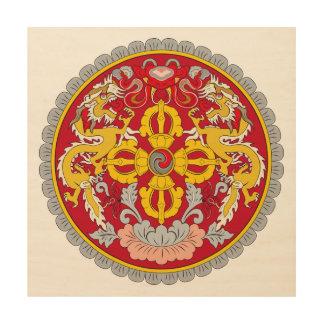 Bhutan emblem. Dragon motif Wood Canvases