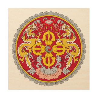 Bhutan emblem. Dragon motif Wood Print