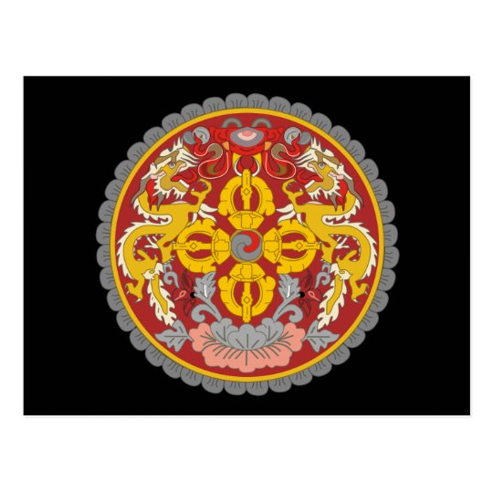 bhutan emblem postcard