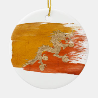 Bhutan Flag Round Ceramic Decoration