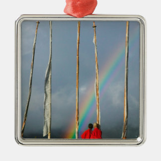 Bhutan, Gangtey village, Rainbow over two Christmas Ornament