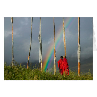 Bhutan, Gangtey village, Rainbow over two monks Card