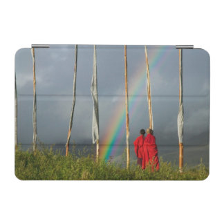 Bhutan, Gangtey village, Rainbow over two monks iPad Mini Cover