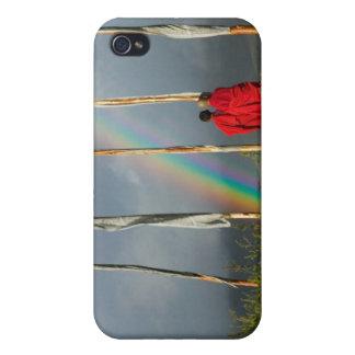 Bhutan, Gangtey village, Rainbow over two monks iPhone 4/4S Case