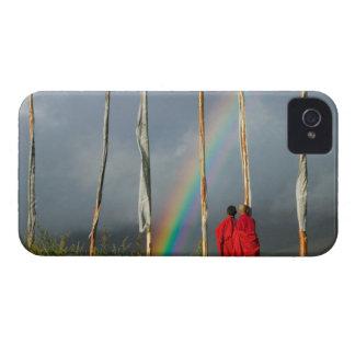 Bhutan, Gangtey village, Rainbow over two monks iPhone 4 Case-Mate Case