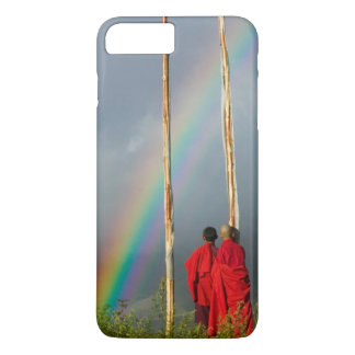 Bhutan, Gangtey village, Rainbow over two monks iPhone 8 Plus/7 Plus Case