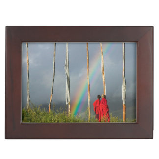 Bhutan, Gangtey village, Rainbow over two monks Keepsake Box