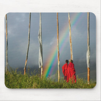 Bhutan, Gangtey village, Rainbow over two monks Mouse Pad