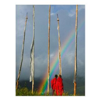 Bhutan, Gangtey village, Rainbow over two Postcards