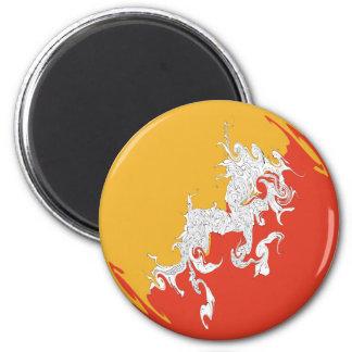 Bhutan Gnarly Flag 6 Cm Round Magnet