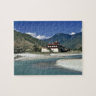 Bhutan, Punaka. The Mo Chhu River flows past Jigsaw Puzzle
