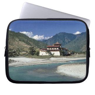 Bhutan, Punaka. The Mo Chhu River flows past Laptop Sleeve