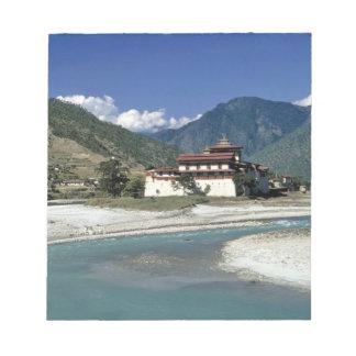Bhutan, Punaka. The Mo Chhu River flows past Notepad