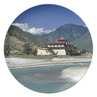 Bhutan, Punaka. The Mo Chhu River flows past Plate