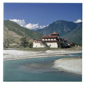 Bhutan, Punaka. The Mo Chhu River flows past Tile