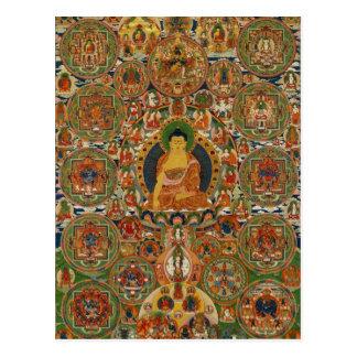 Bhutanese painted complete mandala postcard