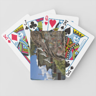 Bhutanese writing on rocks and Nepalese chortens Bicycle Playing Cards