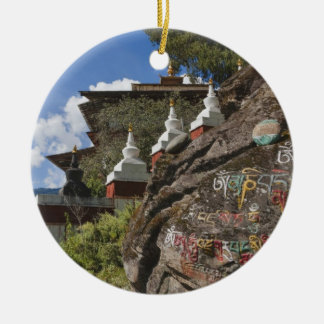 Bhutanese writing on rocks and Nepalese chortens Christmas Ornament