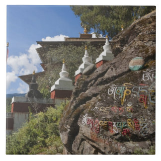Bhutanese writing on rocks and Nepalese chortens Large Square Tile