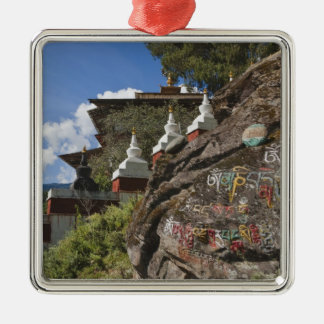 Bhutanese writing on rocks and Nepalese chortens Silver-Colored Square Decoration