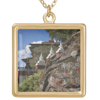 Bhutanese writing on rocks and Nepalese chortens Square Pendant Necklace