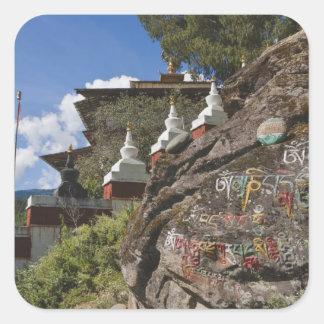 Bhutanese writing on rocks and Nepalese chortens Square Sticker
