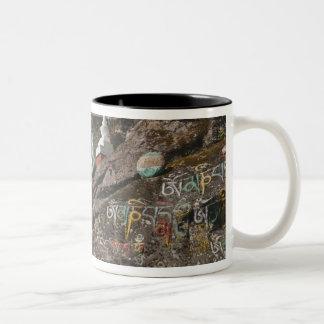 Bhutanese writing on rocks and Nepalese chortens Two-Tone Coffee Mug