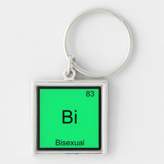 Bi - Bisexual Chemistry Element Symbol Funny Silver-Colored Square Key Ring
