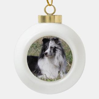 Bi Blue Merle Sheltie with Split Face Ceramic Ball Christmas Ornament