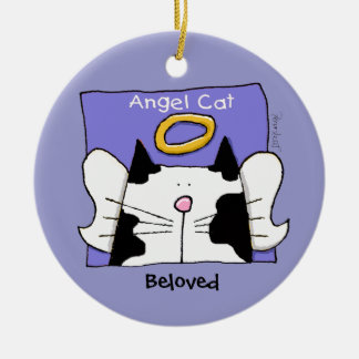 Bi-Color Cat Angel Personalize Round Ceramic Decoration