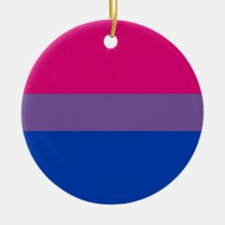 Bi Flag Flies For Bisexual Pride Round Ceramic Decoration