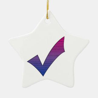 Bi Pride Check Mark Ceramic Star Decoration