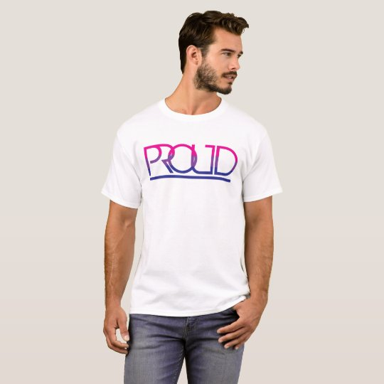 "Bi Pride Flag Typography ""Proud"" T-Shirt"