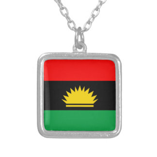 Biafra republic minority people ethnic flag silver plated necklace