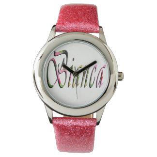 Bianca, Name, Logo, Girls Pink Glitter Watch. Wristwatches