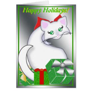 Bianca Toon Kitty Holiday Greens Greeting Card