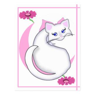 Bianca Toon Kitty Tickled Pinks w Flowers Postcard