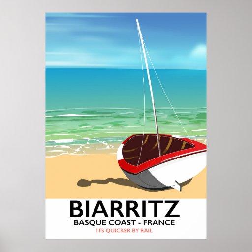Biarritz France Beach travel poster
