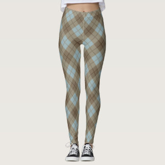 Bias Plaid in Blue and Brown Leggings