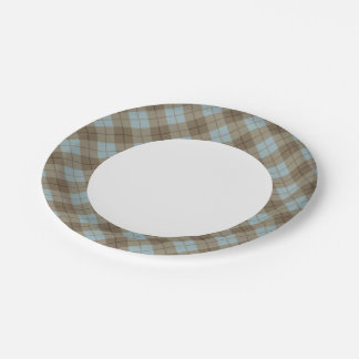 Bias Plaid in Blue and Brown Paper Plate